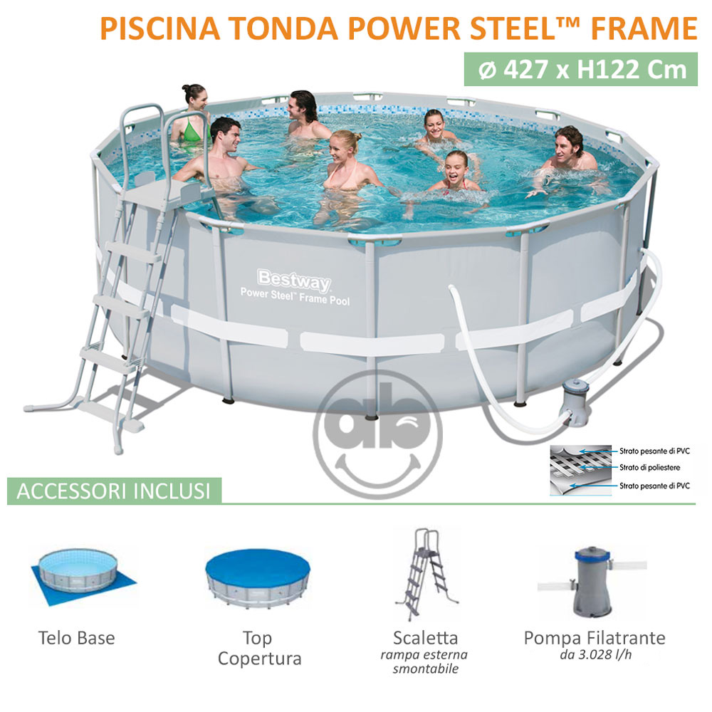 Piscina Power Steel Frame 427 x h122 Cm Tonda