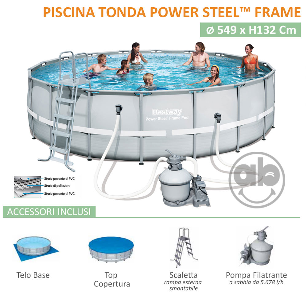 Piscina Power Steel Frame 549 x h132 Cm Tonda