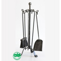 Set Accessori Camino Caminetto in ferro battuto 4 Pz con supporto - Terminio