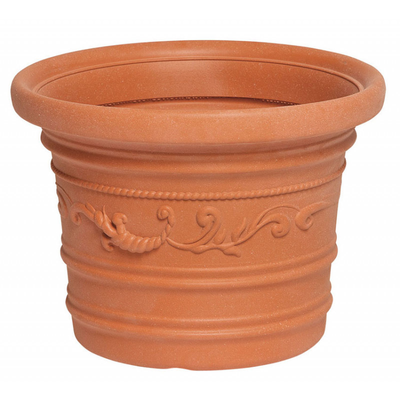 Vaso tondo festonato in resina color terracotta per for Vaso in resina