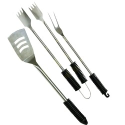 KIT ACCESSORI PER BARBECUE SET 3 PZ ATTREZZI DA BBQ IN ACCIAIO MANICO IN RESINA