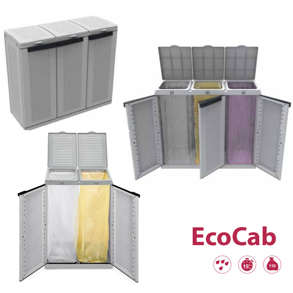 Pattumiera porta-rifiuti in plastica per raccolta differenziata 2 o 3 ante - Terry Eco Cab